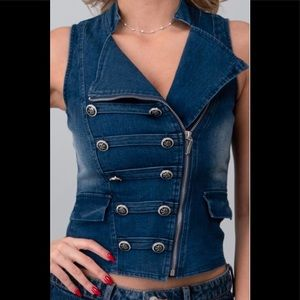 🆕 Sexy Distressed Dark Denim ZIP front Vest